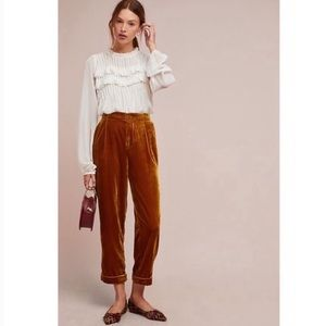 Anthropologie Cuffed Velvet Trousers Gold